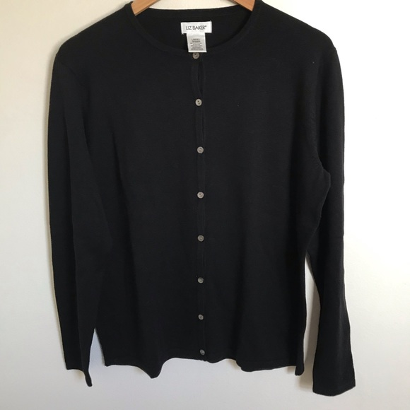 Liz Baker Sweaters - NWOT Liz Baker Black Button Down Cardigan